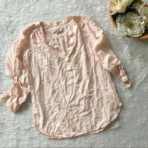 Loft Blush Pink Popover Blouse
